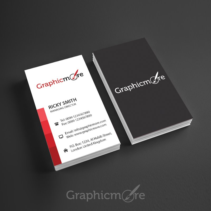 Red Lines Vertical Business Card Template Design - business card template design
