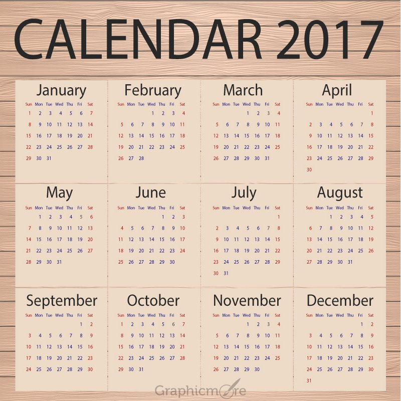 Calendar 2017 Template Design Free Vector File Download