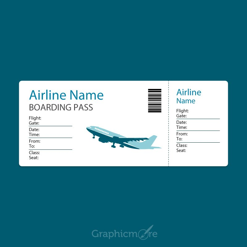 Airline Blue Boarding Pass Template Design Free Vector File Download - boarding pass template