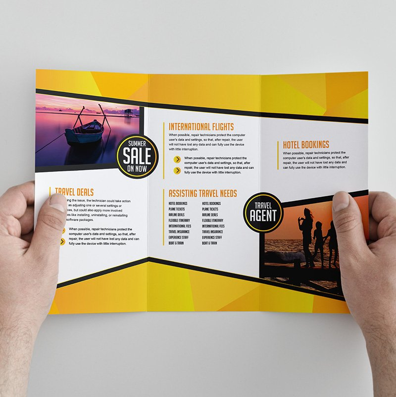 Free Trifold Brochure Template for Travel Agencies By GraphicMore - Tri Fold Brochures Free