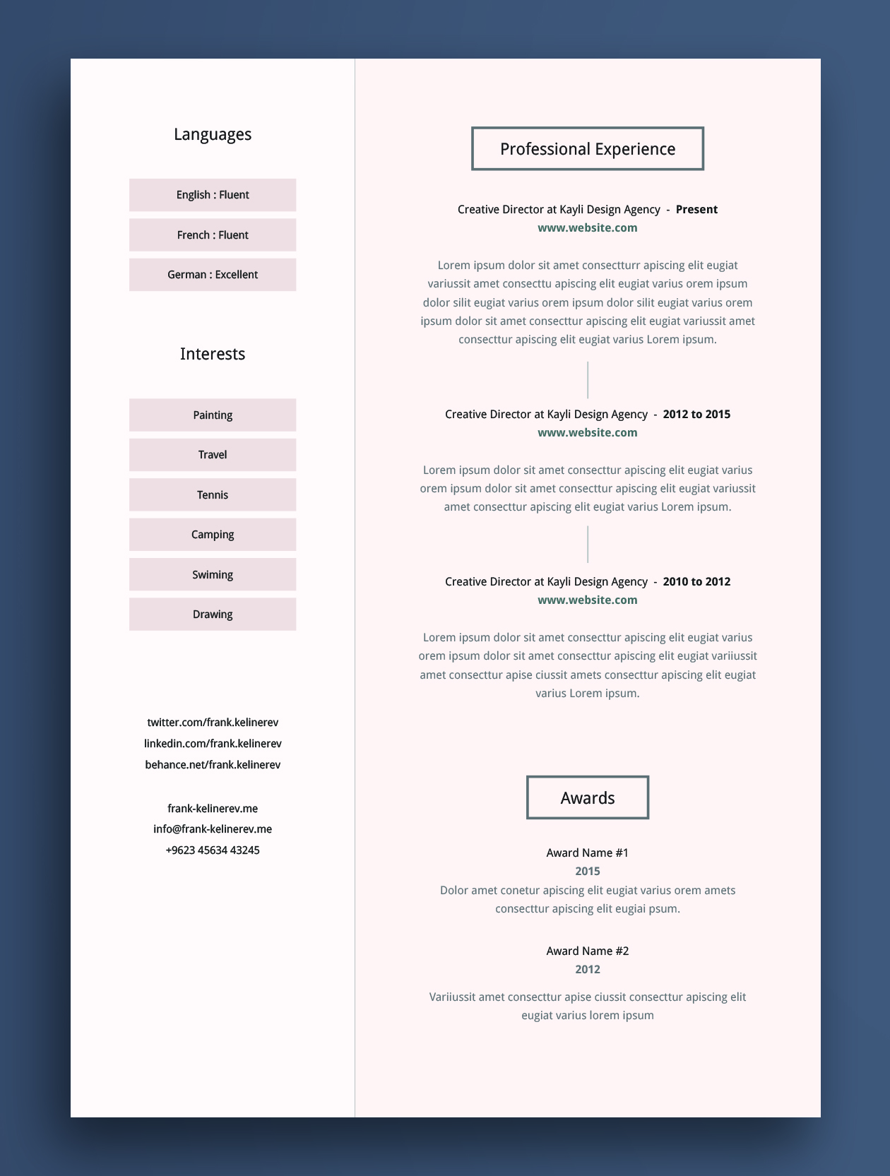 cv template pdf download