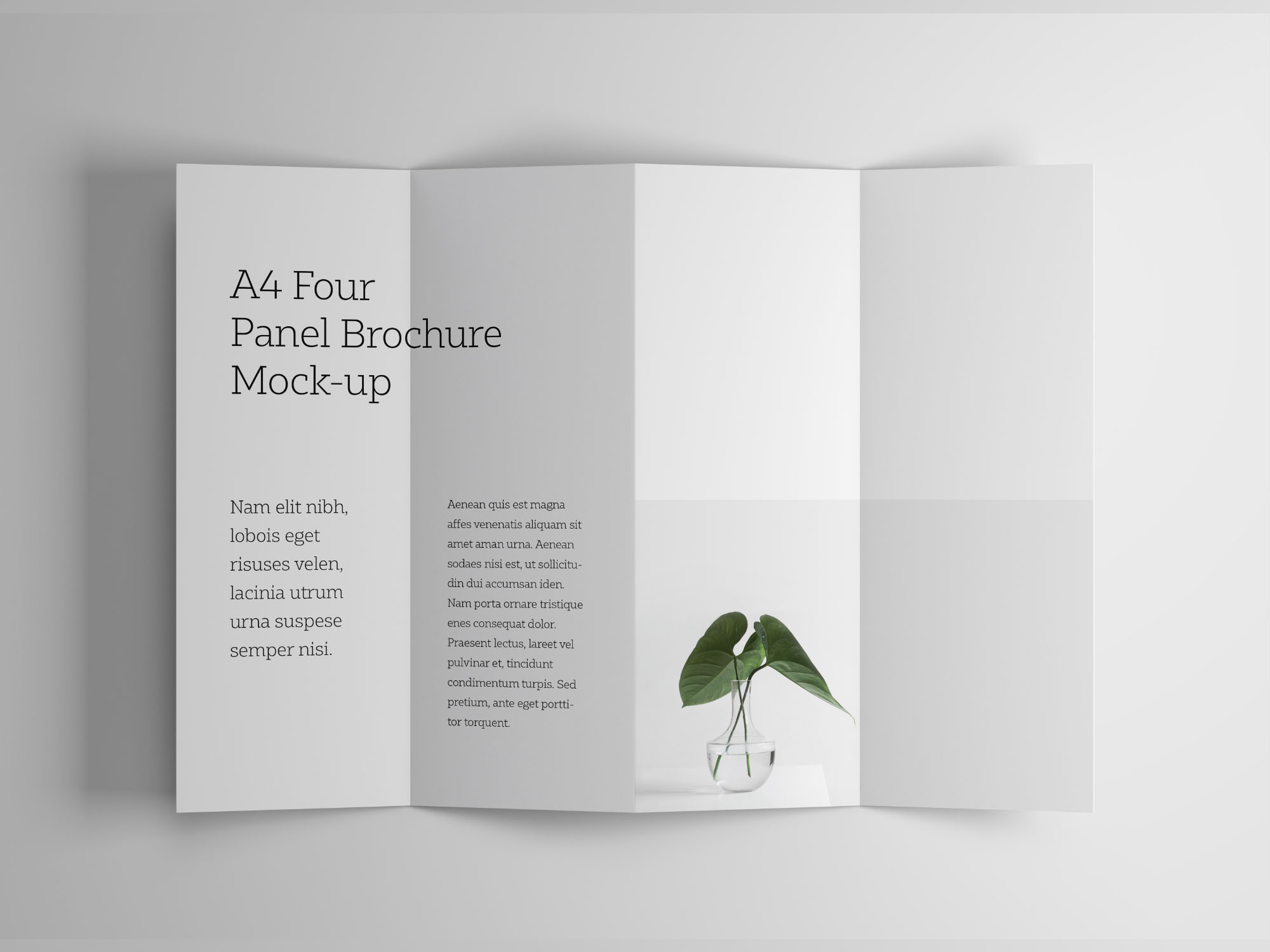 Umbrella Photoshop Mockup Free A4 Four Panel Brochure Mockup