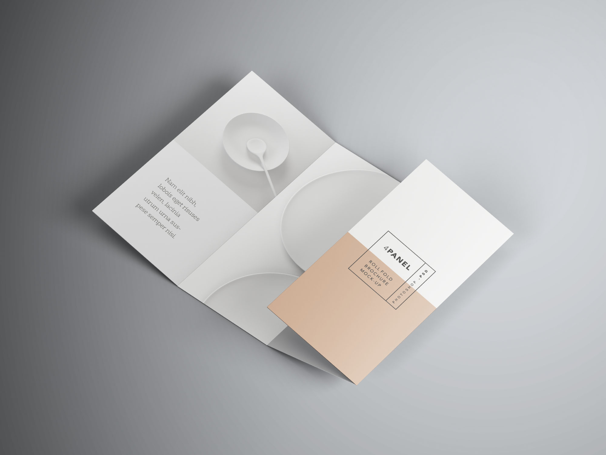 Umbrella Photoshop Mockup Free 4 Panel Roll Fold Brochure Mockup