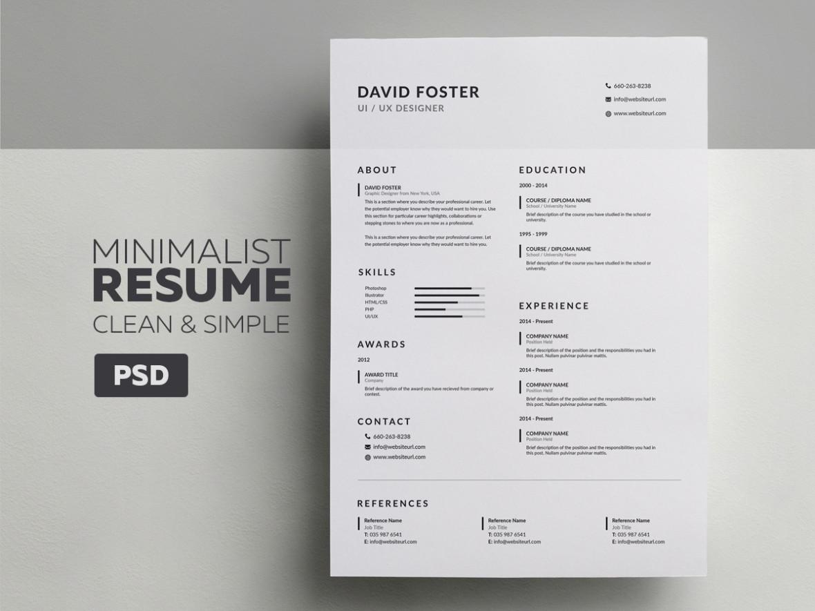 resume photoshop template minimalist