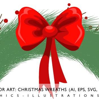 Free Vector Art: Christmas Wreaths