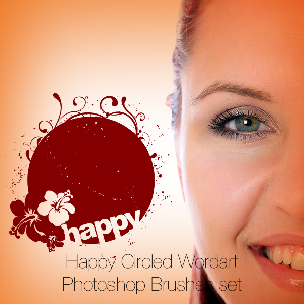 Happy Circled Wordart Photoshop Brushes