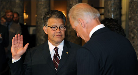 Senator Al Franken of Minnesota being sworn in on Tuesday by Vice President Joseph R. Biden Jr. in Washington.