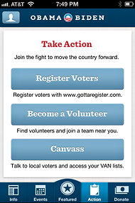 Screen shot from the Obama campaign's iPhone app.