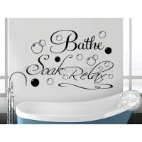 Bathe Soak Relax Bathroom Wall Art Sticker Quote Vinyl ...