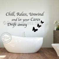 Chill Relax Unwind Bathroom Wall Sticker Inspirational ...