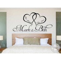 Personalised Bedroom Wall Sticker, Two Hearts One Love ...