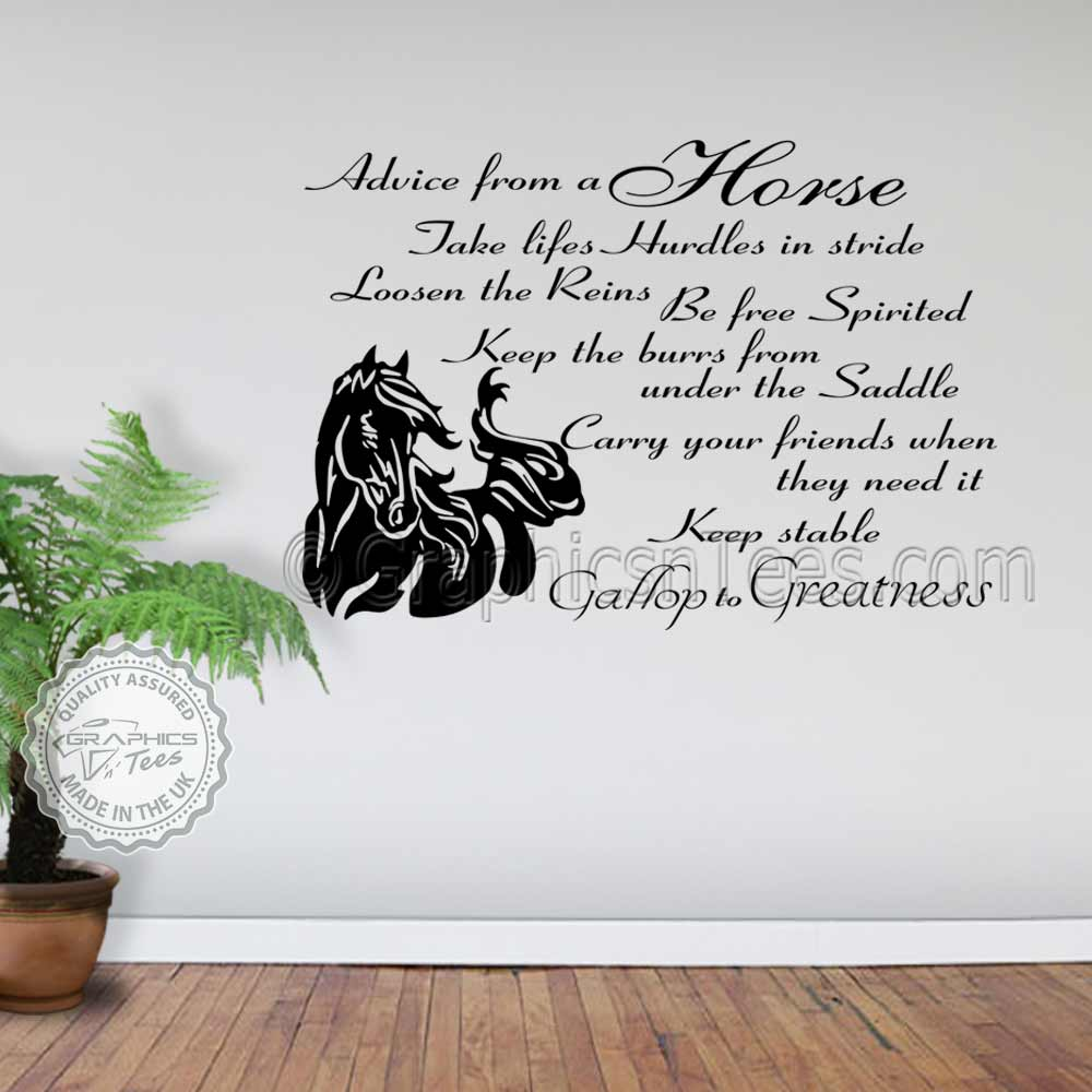 Wall Decoration Murale Horse Wall Stickers, Advice From A Horse Quote Vinyl Mural