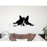 Boston Terrier Puppy Lying Down Wall Sticker, Vinyl Mural ...