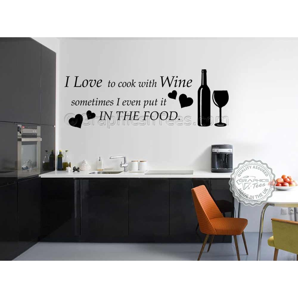 Wall Decoration Murale I Love To Cook With Wine Kitchen Wall Art Mural Sticker Decals Quote