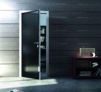 Modern aluminum door with black glass and elegant aluminum