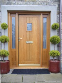 Luxury solid wood front door with glass