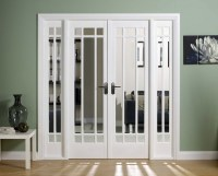 Sliding French doors with frosted glass