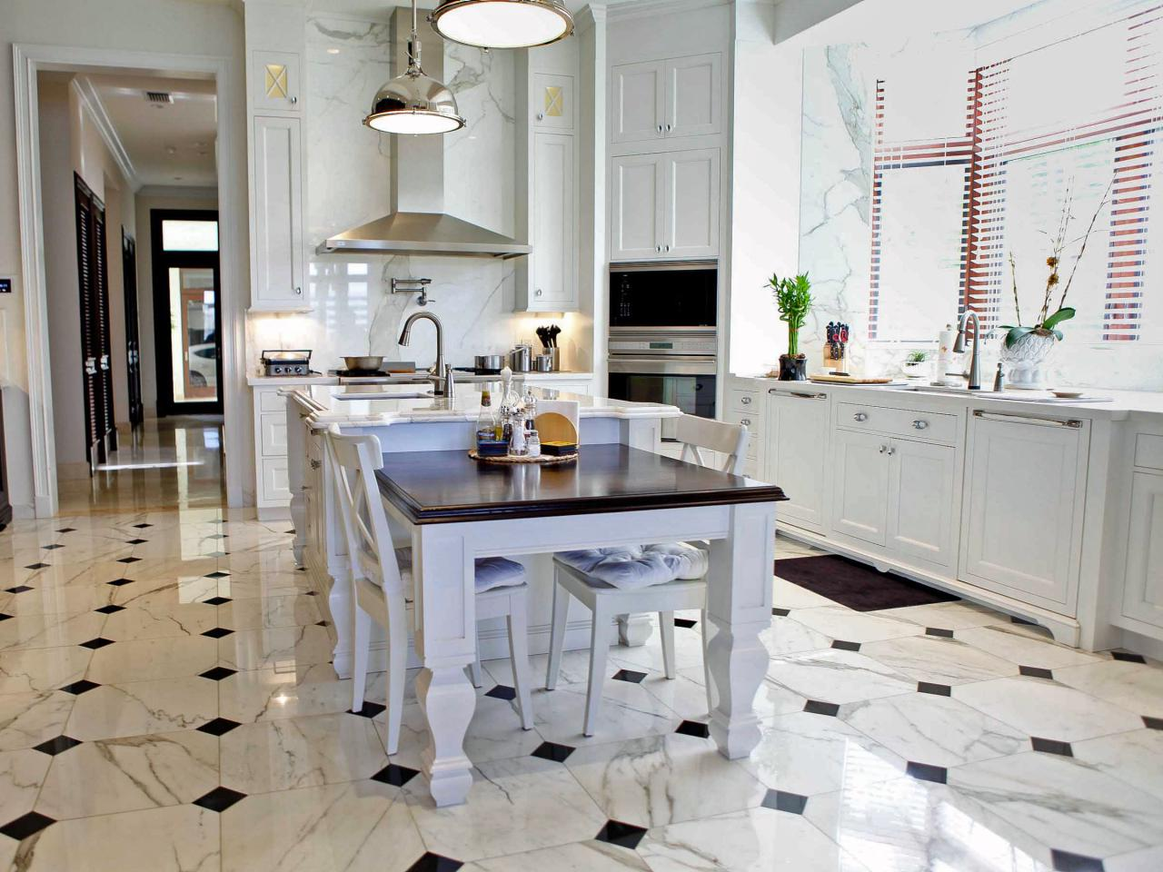 White Marble Kitchen Floors Ceramic Tile Floor In The Kitchen