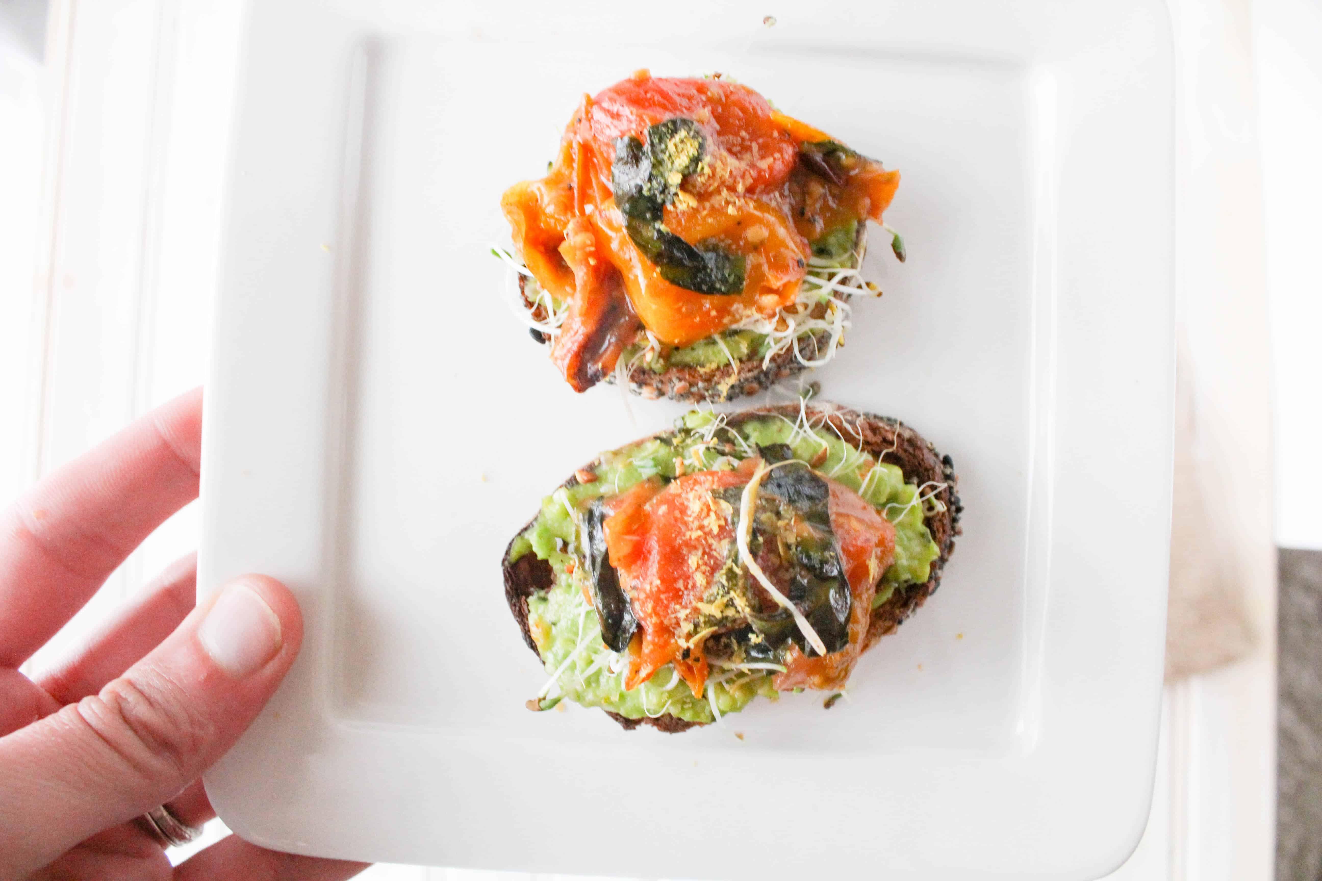 Roasted Tomato Avocado Toasts | The Grateful Grazer