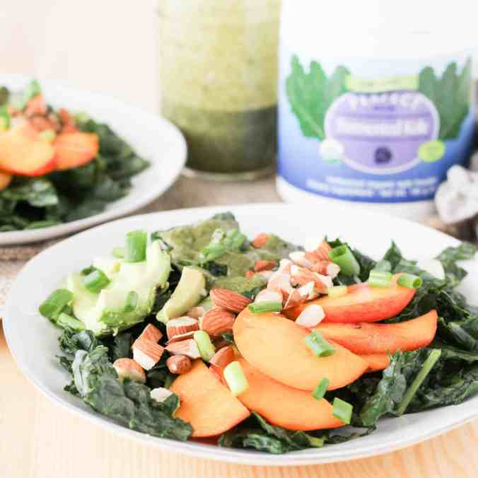 Vegan Peach Avocado Salad with Immune-Boosting Kale Dressing is a delicious way to eat more nutritious fermented vegetables.