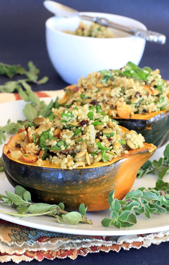 Acorn Squash Stuffed with Pumpkin Seed Cherry Quinoa Pilaf from E.A ...