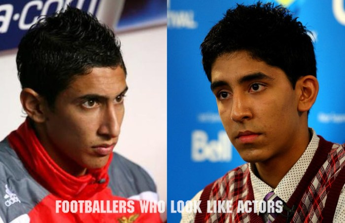 Argentine Angel Di Maria (L) and Dev Patel of Slumdog Millionaire