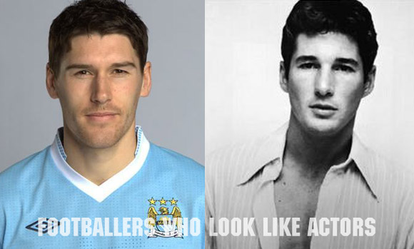 Manchester City midfielder Gareth Barry (L) and Richard Gere