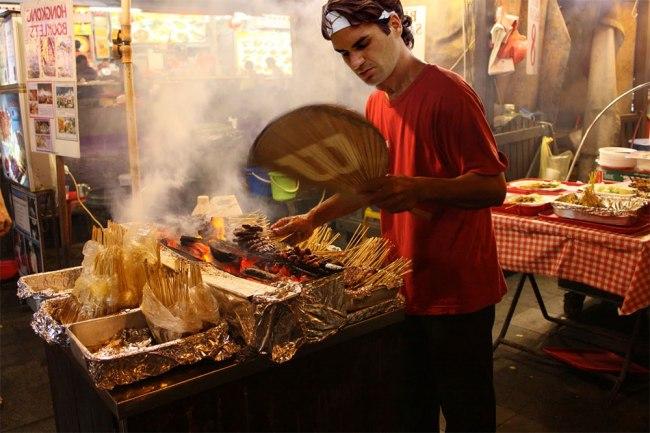 Roger Federer grilling satay (Photo: GrateNews)