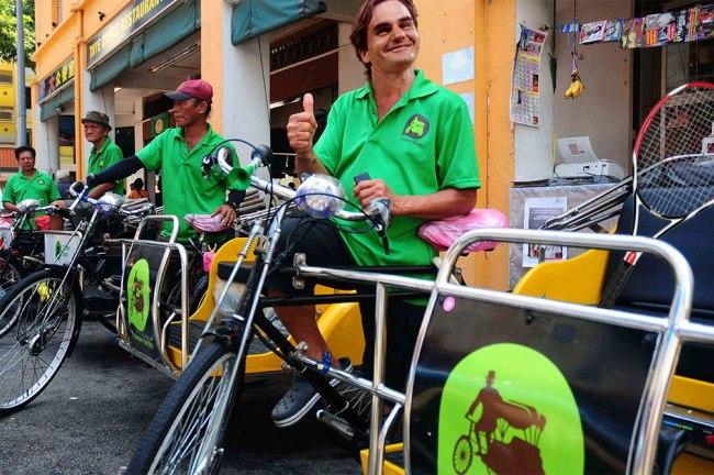 Roger Federer as a trishaw man (Photo: GrateNews)