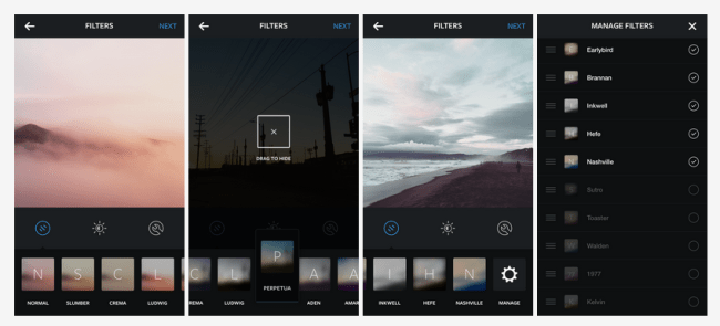 Instagram's customisable filter tray