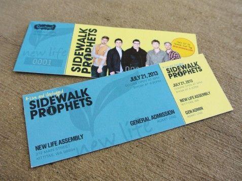 Sidewalk Prophets - Concert Ticket - Design  Printing - concert tickets design