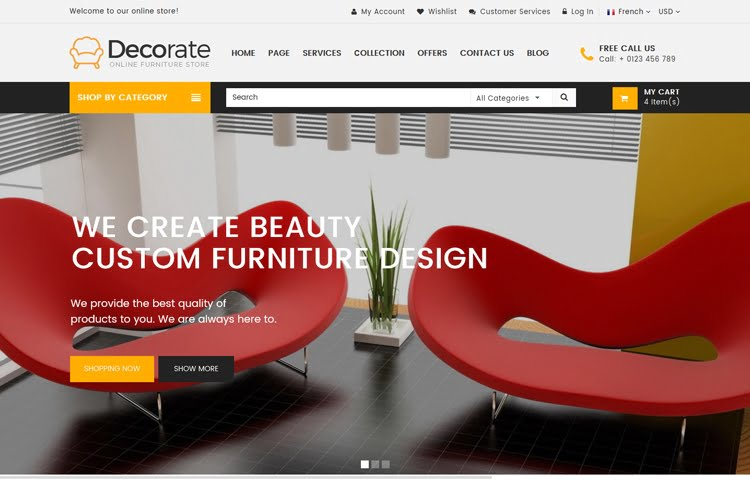 Decorate - Furniture and Interior Website Template GrayGrids