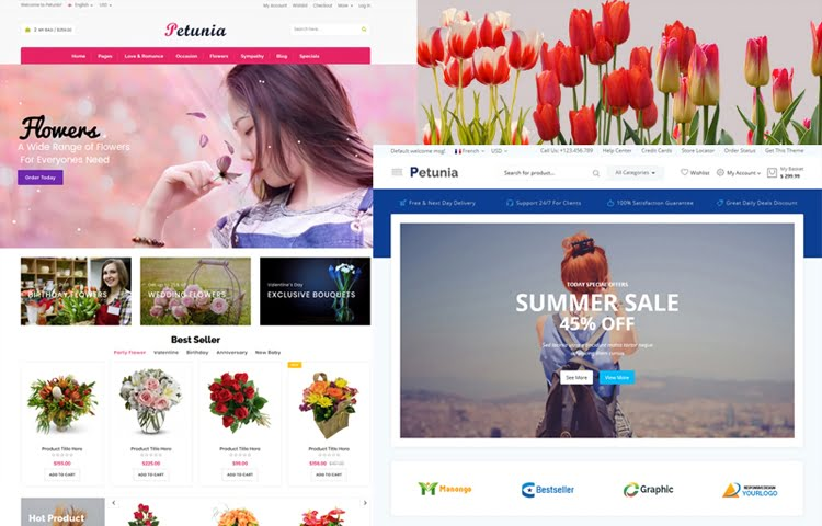 Petunia - Flowers  Fashion Store Website Templates GrayGrids