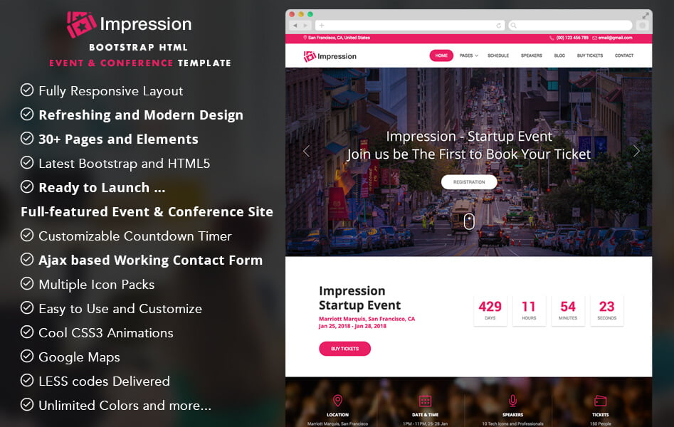 Impression - Free Bootstrap HTML5 Event and Conference Template - html5 template tag