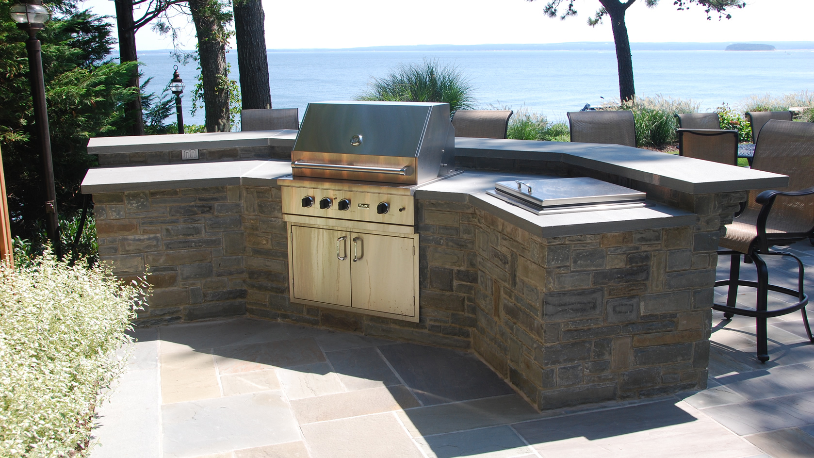 Blue Stone Countertop Outdoor Bbq Fireplaces Gray Masonry