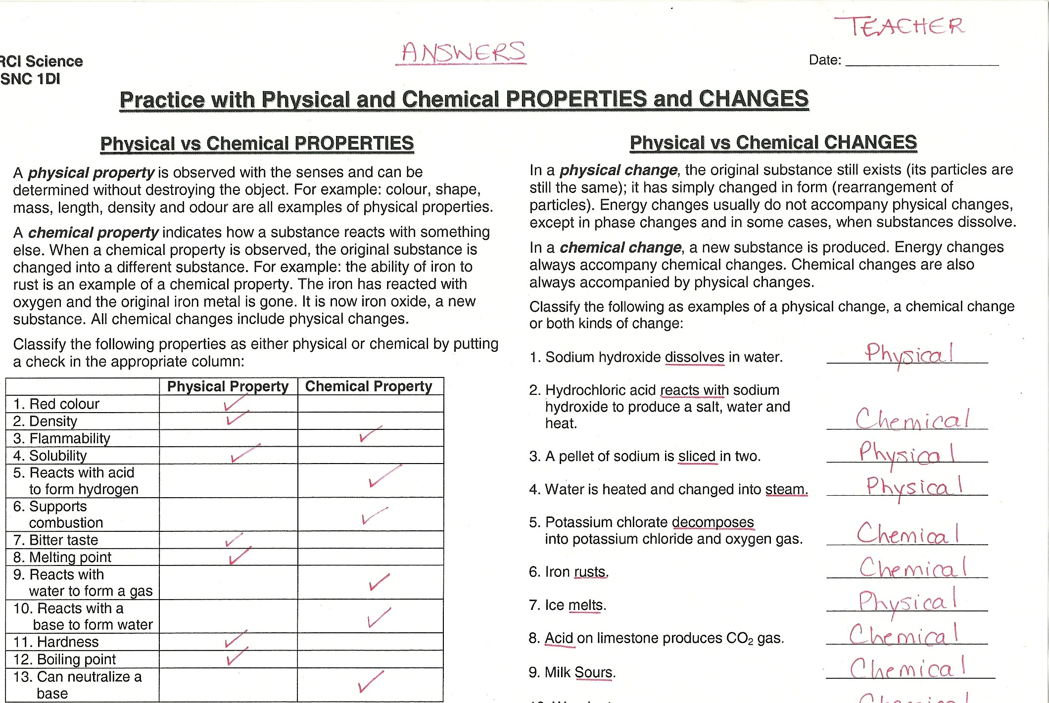 physical and chemical properties and changes worksheet answers ...