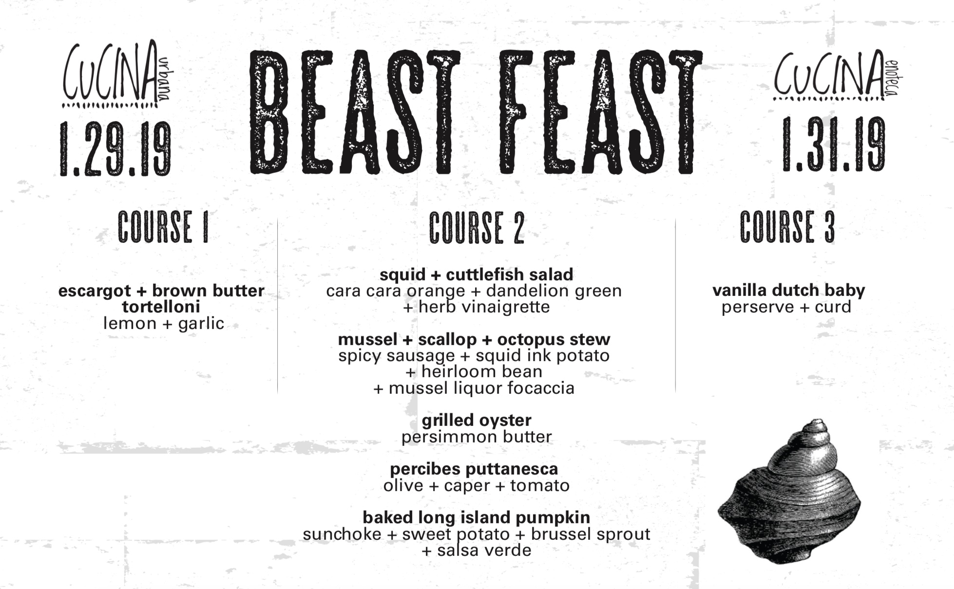 Cucina Enoteca Menu Beast Feast Mollusk Great Taste Events