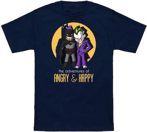 The Adventures Of Angry & Happy with Batman and The Joker t-shirt