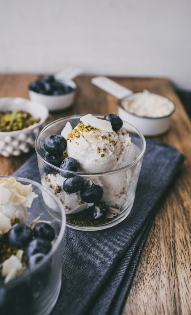 Coconut Milk Ice Cream with Pistachio Crumb and Blueberries {Vegan + Gluten Free} by Top With Cinnamon