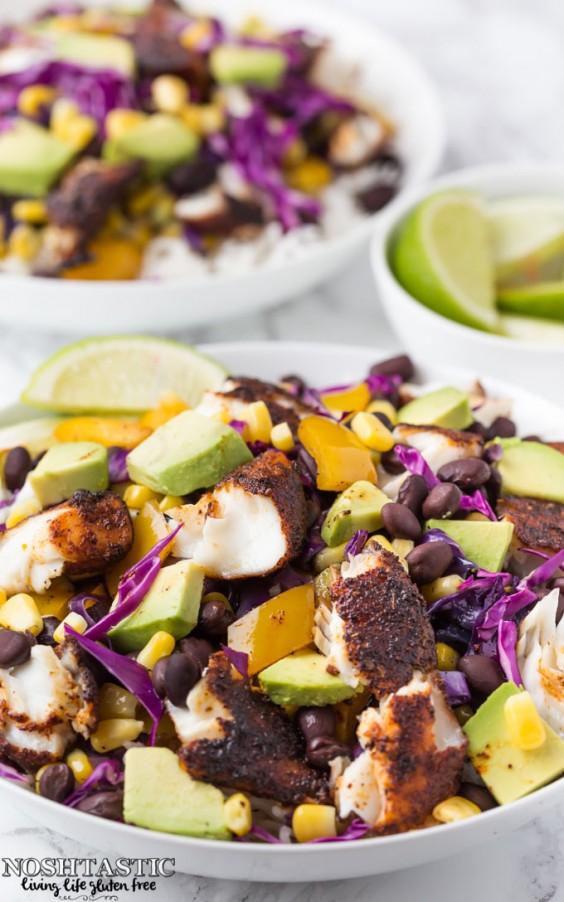 4. Gluten-Free Blackened Fish Taco Bowls