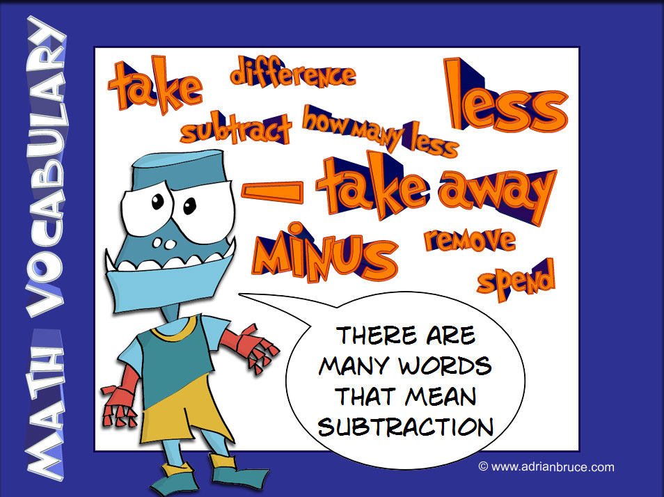 Math Poster - Subtraction Vocabulary - The Are Many Different Words