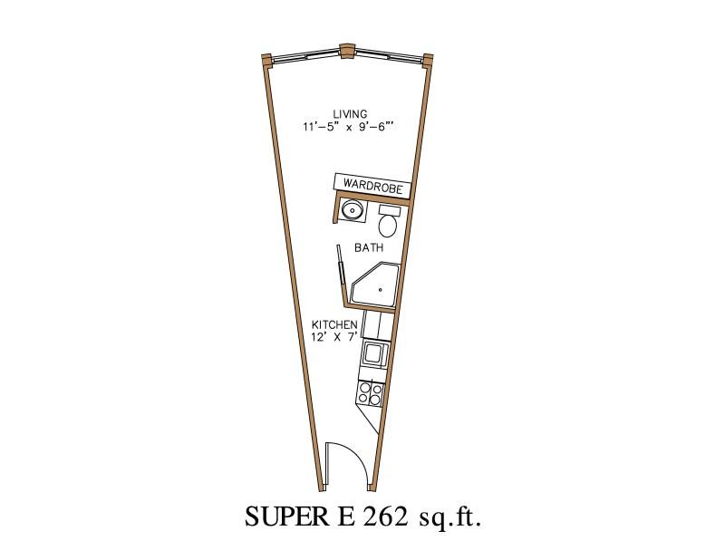 Large Of Efficiency Apartment Floor Plan