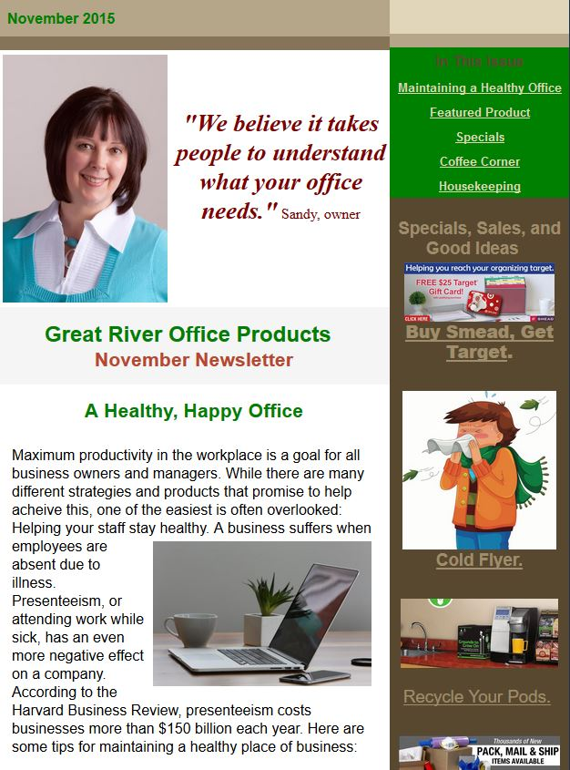 newsletters Great River Office Products - office newsletter