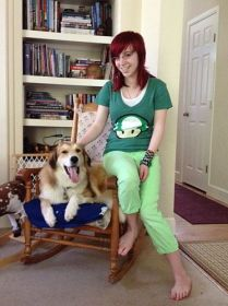 Rusty the dog and Ali, daughter and editor