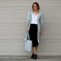 Outfit | James Perse Long Cardigan + Rachel Comey Moon Wedge