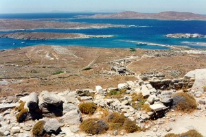 overview of the archaeological site of Delos from the sacred mountain of Kynthos