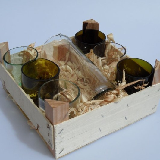 Karaffen-Glas-Set aus recycelten Weinflaschen