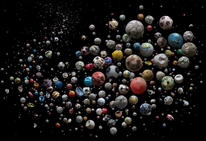 Mandy Barker Penalty soccer ball art from Europe