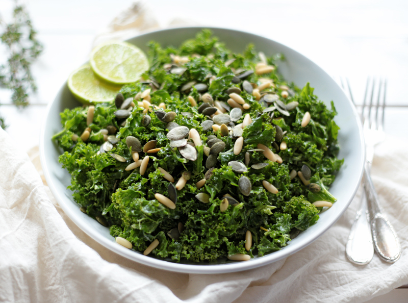Kale Salad with Tahini and Citrus Dressing - Green Évi