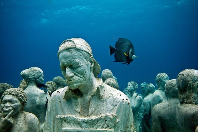 """The Silent Evolution"" Installation at cancun Underwater Museum"
